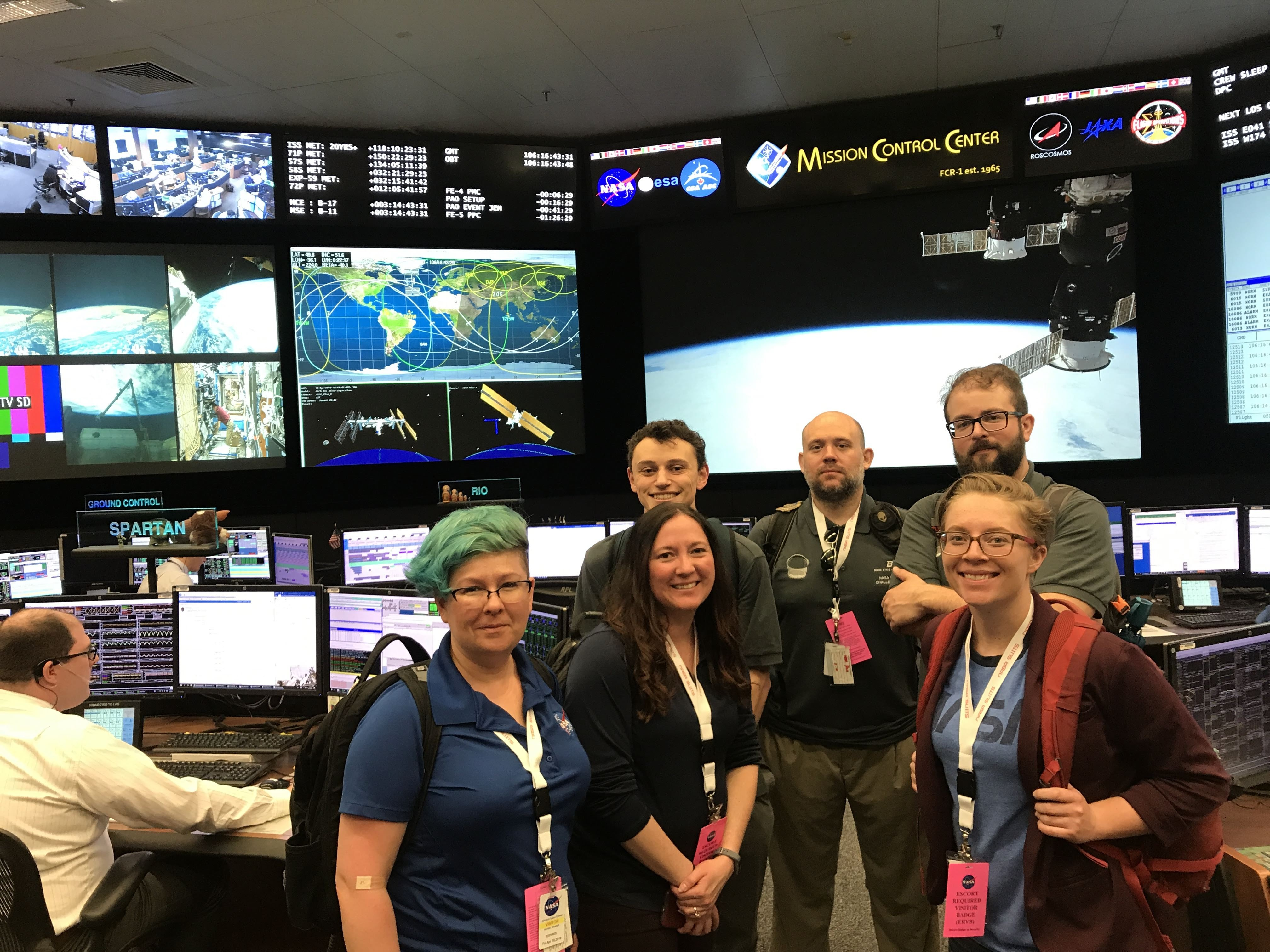 VIP Team photograph at Johnson Space Center's control room