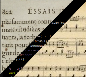 Collage of text and music notes superimposed with code