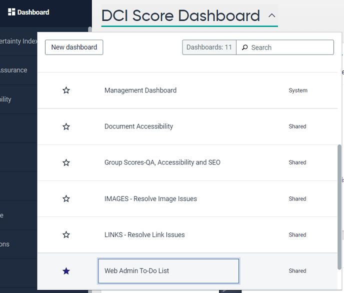 Select Web Admin To-Do List from available dashboards