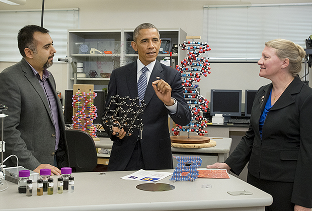 Photo of Barack Obama and Boise State professor's Dave Estrada and Amy Moll