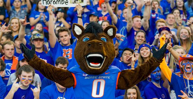 Buster Bronco mascot in front of fans.