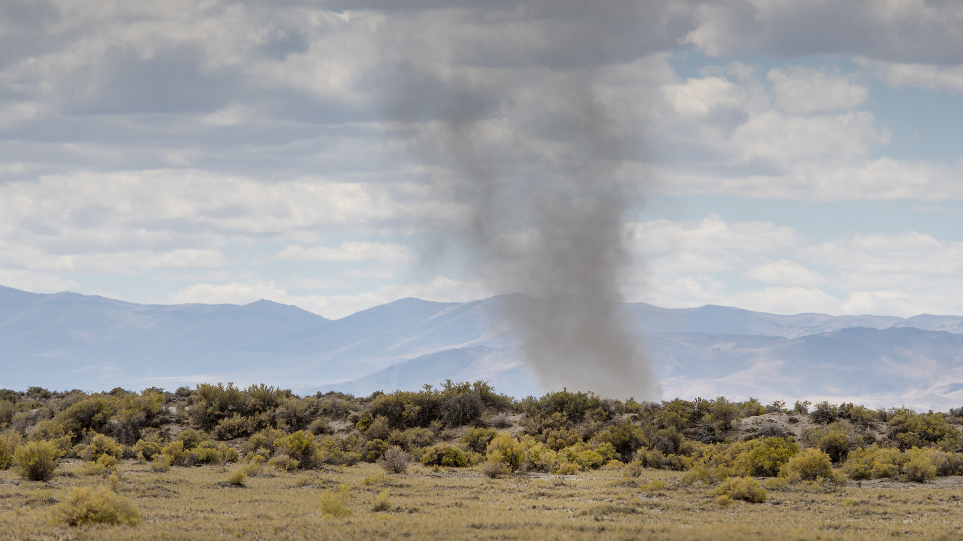 A dust devil, moving on top of the desert sagebrush