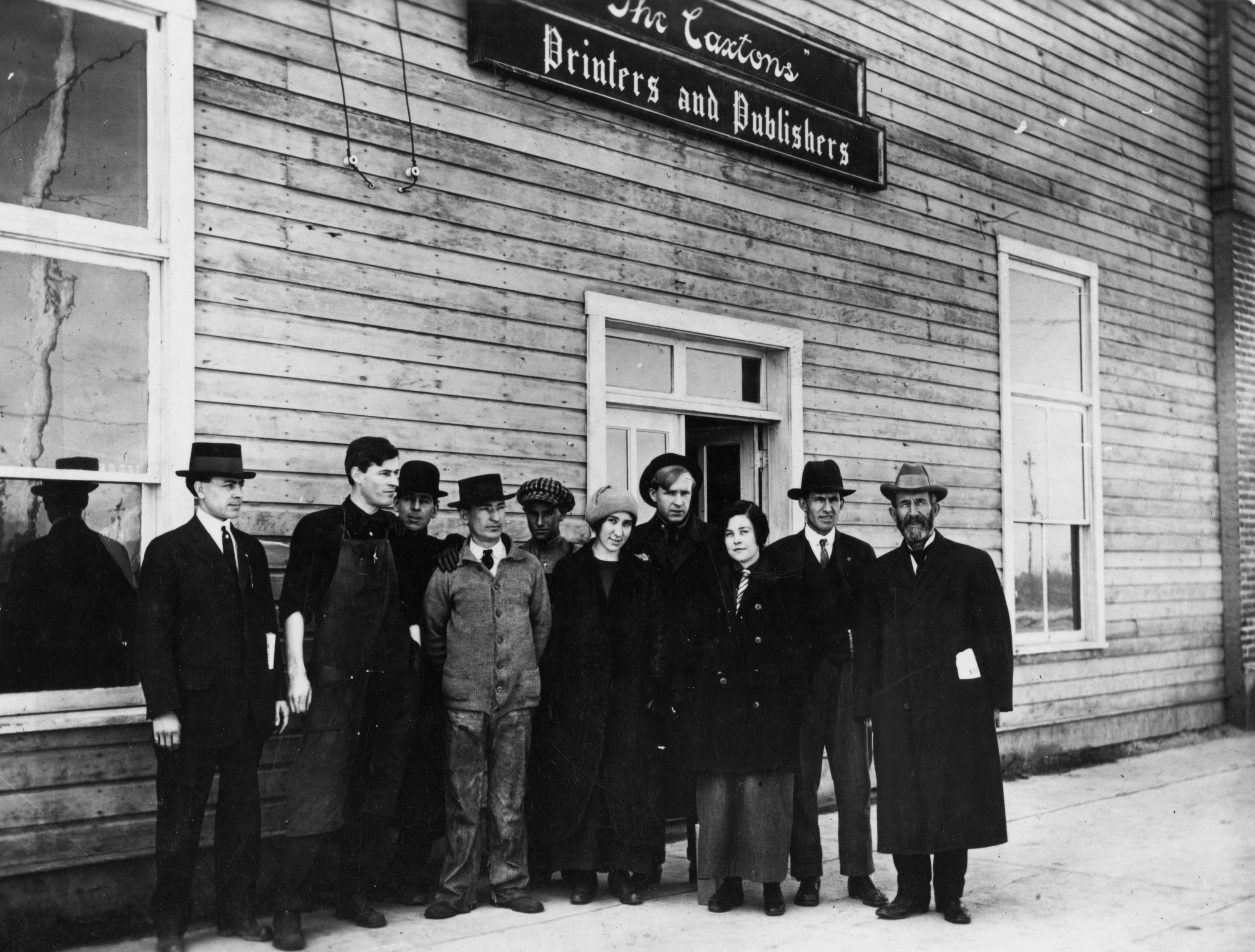 Historic photo of Caxton Printers owners, staff.