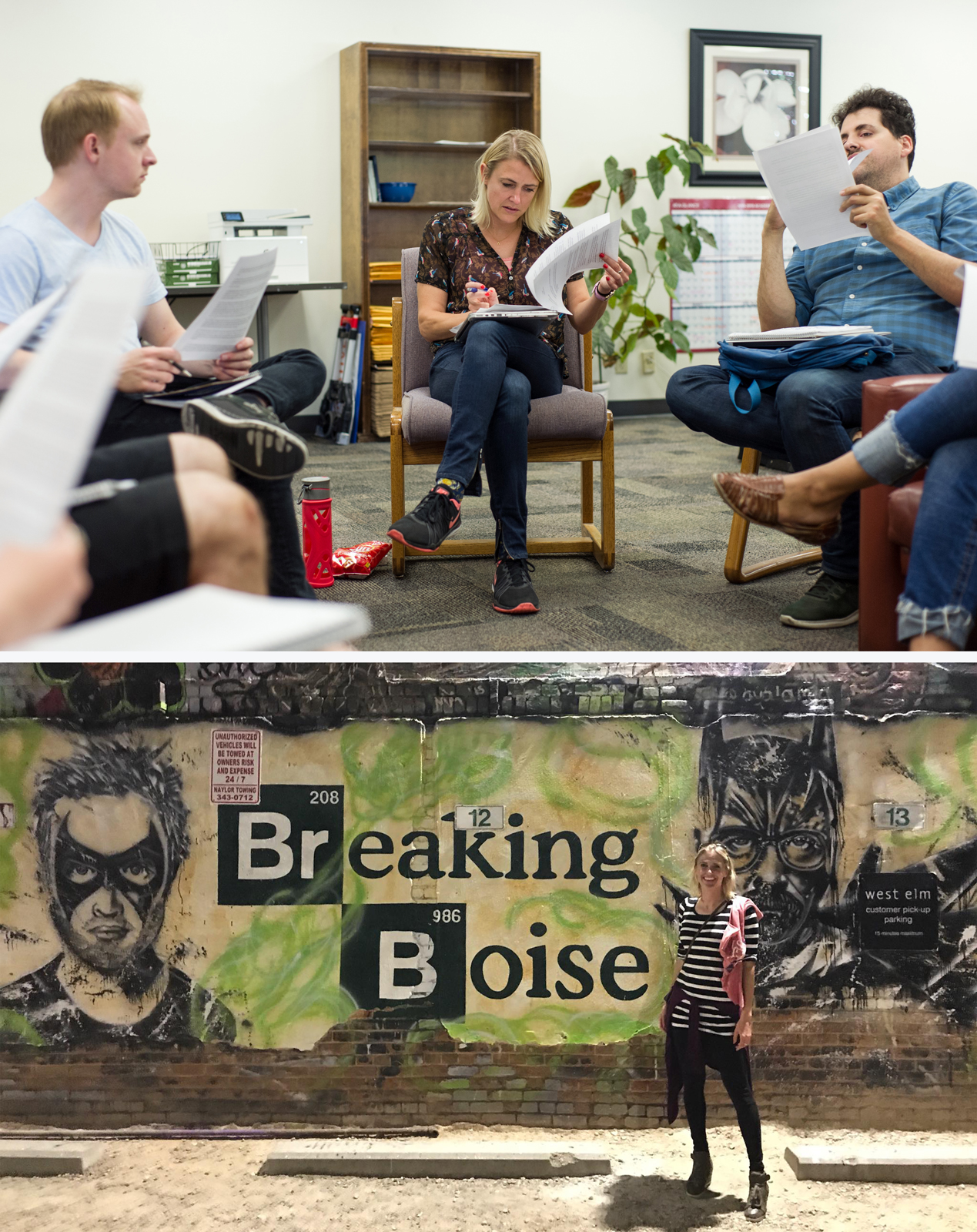Two images. Top includes people in a writing workshop. Bottom includes Heather Marion in front of Breaking Boise mural