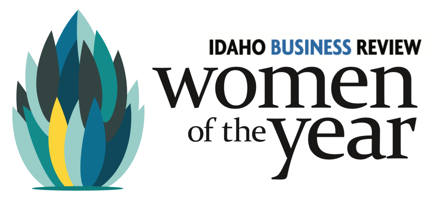 "This logo for the event reads ""Idaho Business Review women of the year"" with a small artichoke-like decal for artistic flair."