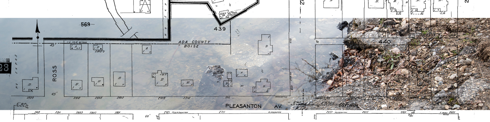 Historic map graphic on photograph of old broken concrete in the Boise River