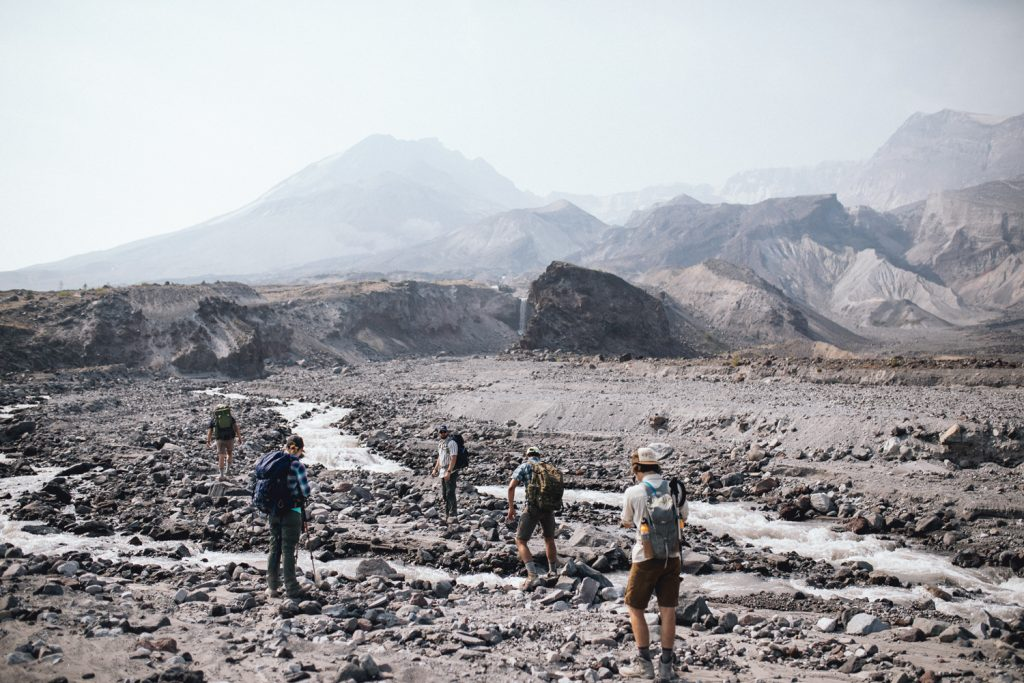 Photo of students inspecting deposits at Mt St Helens