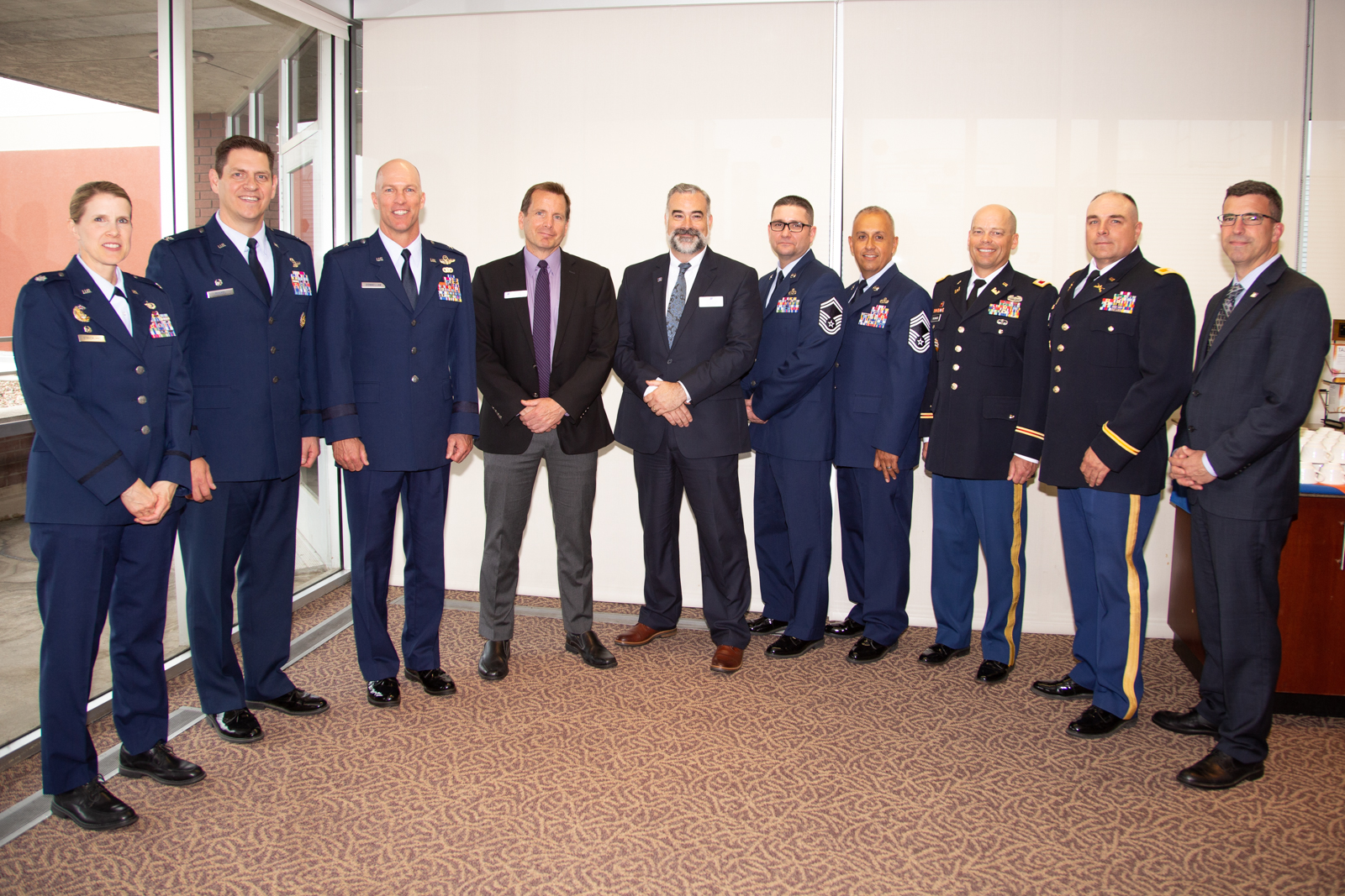 Mountain Home Air Force Base and the Idaho National Guard military leaders and Boise State University leadership