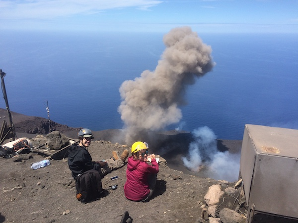 Scientists on site at an active volcano