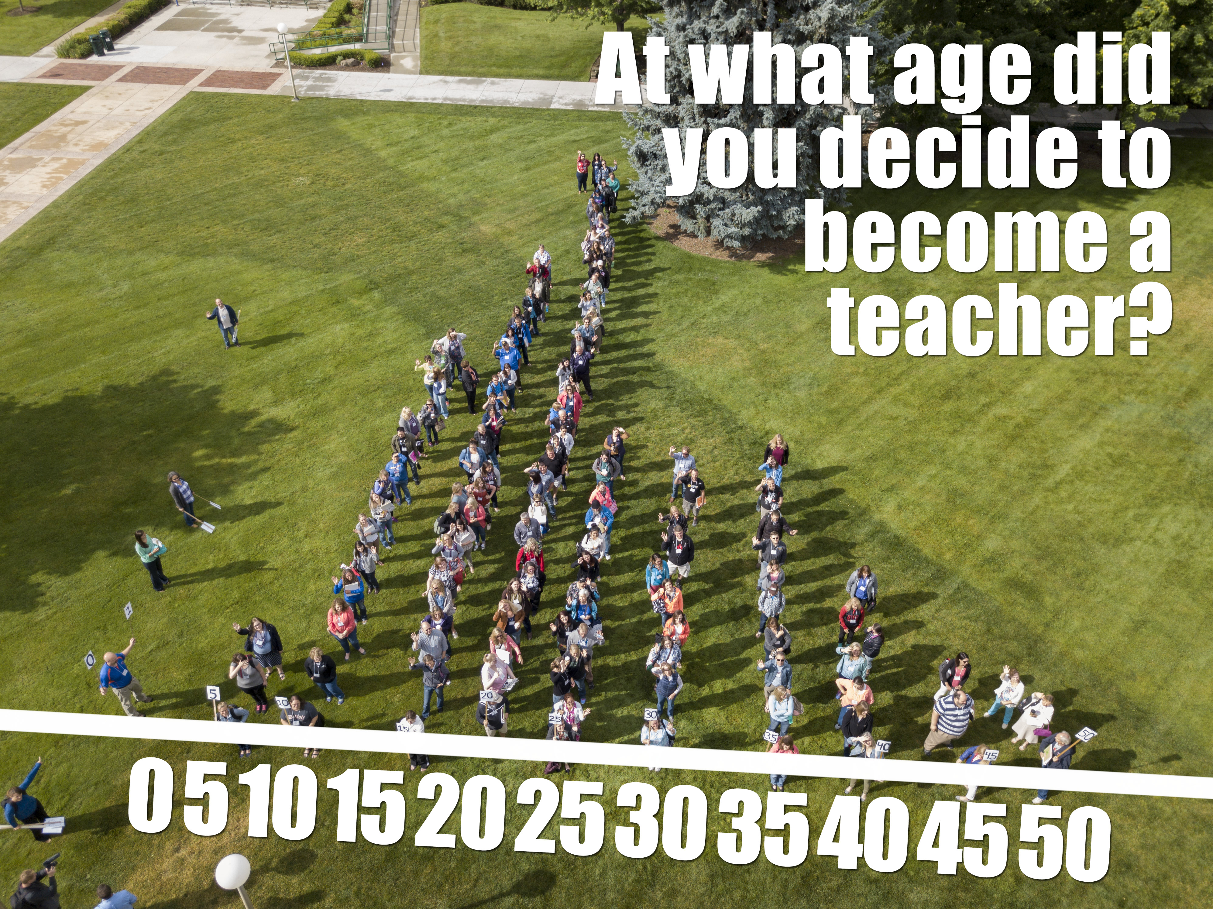 "Image of teachers lined up with text ""At what age did you decide to become a teacher?"" at top and an age range 0-50 at the bottom, with teachers in corresponding lines."