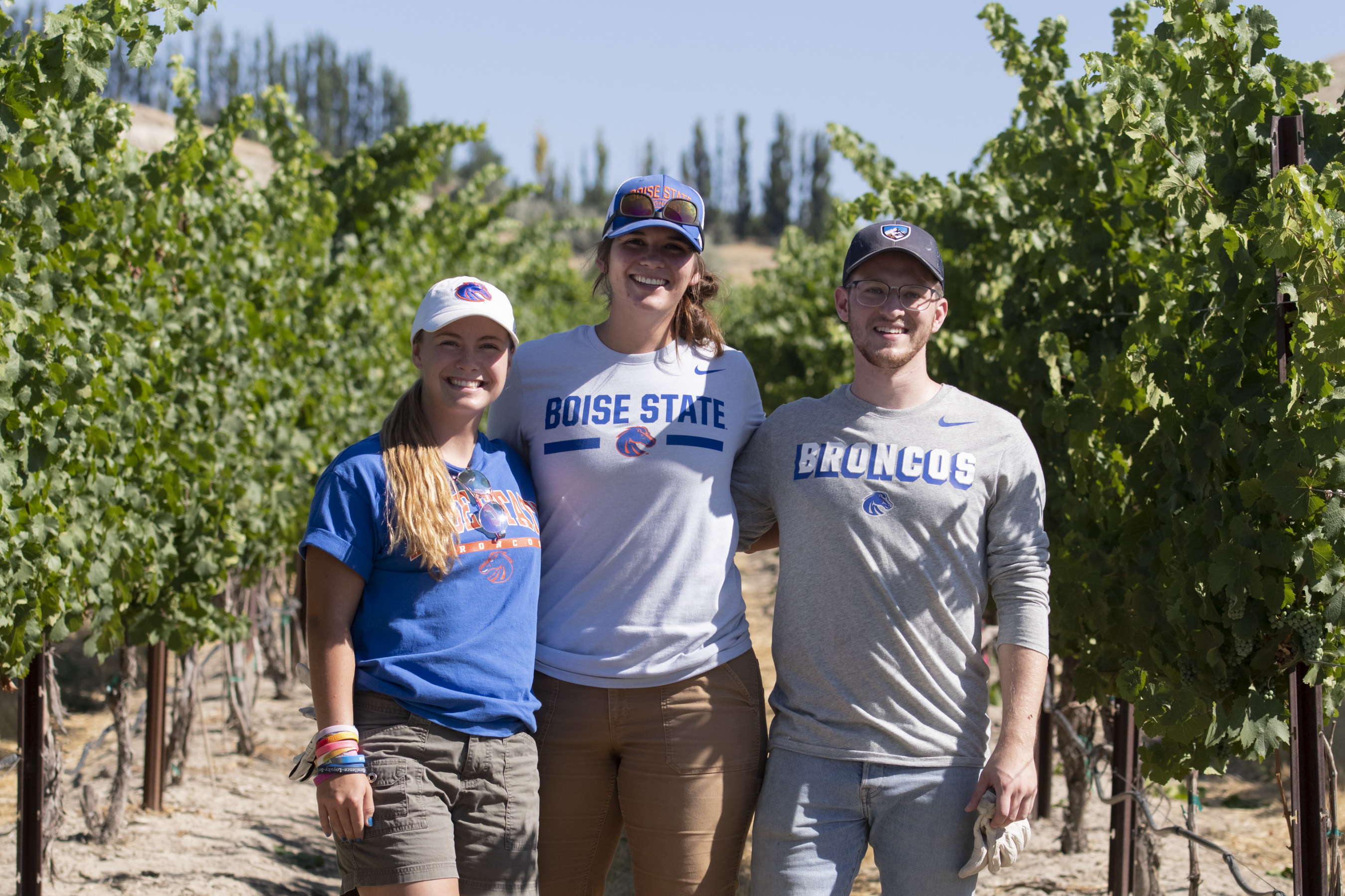 Three students standing together at dig site in Idaho vineyard