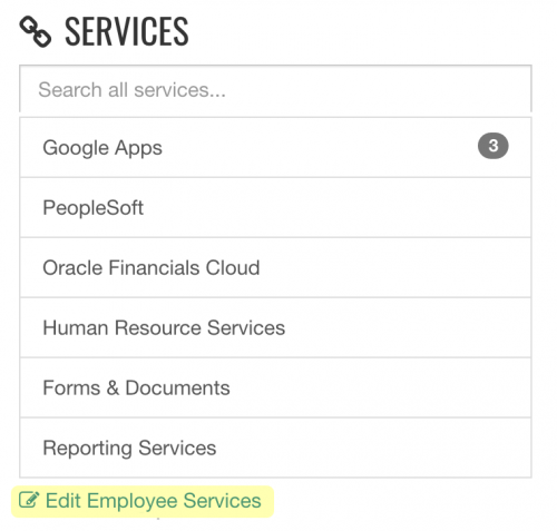 Employee Services Menu