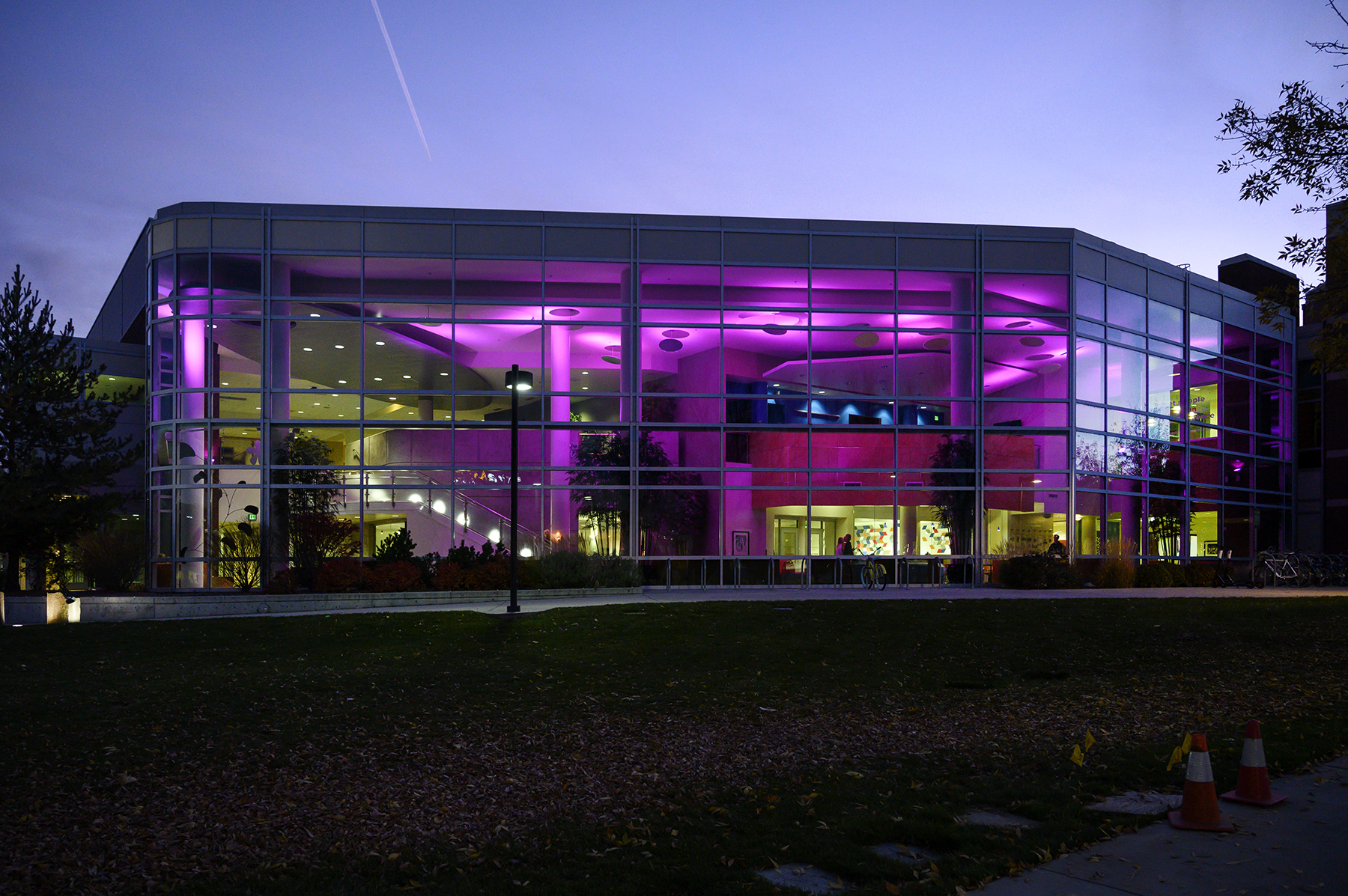 Purple lights illuminate the Student Union Building