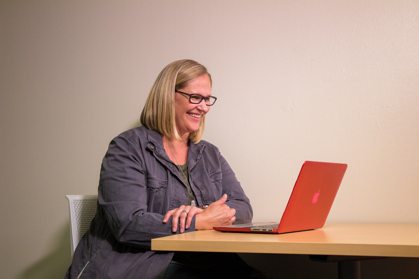 Alyssa Zemke, a student in the Master of Science in Respiratory Care program, works on her laptop