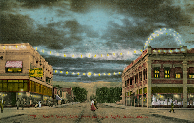 old postcard showing downtown Boise