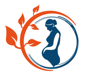 Logo, silhouette of a pregnant woman inside a circle of leaves