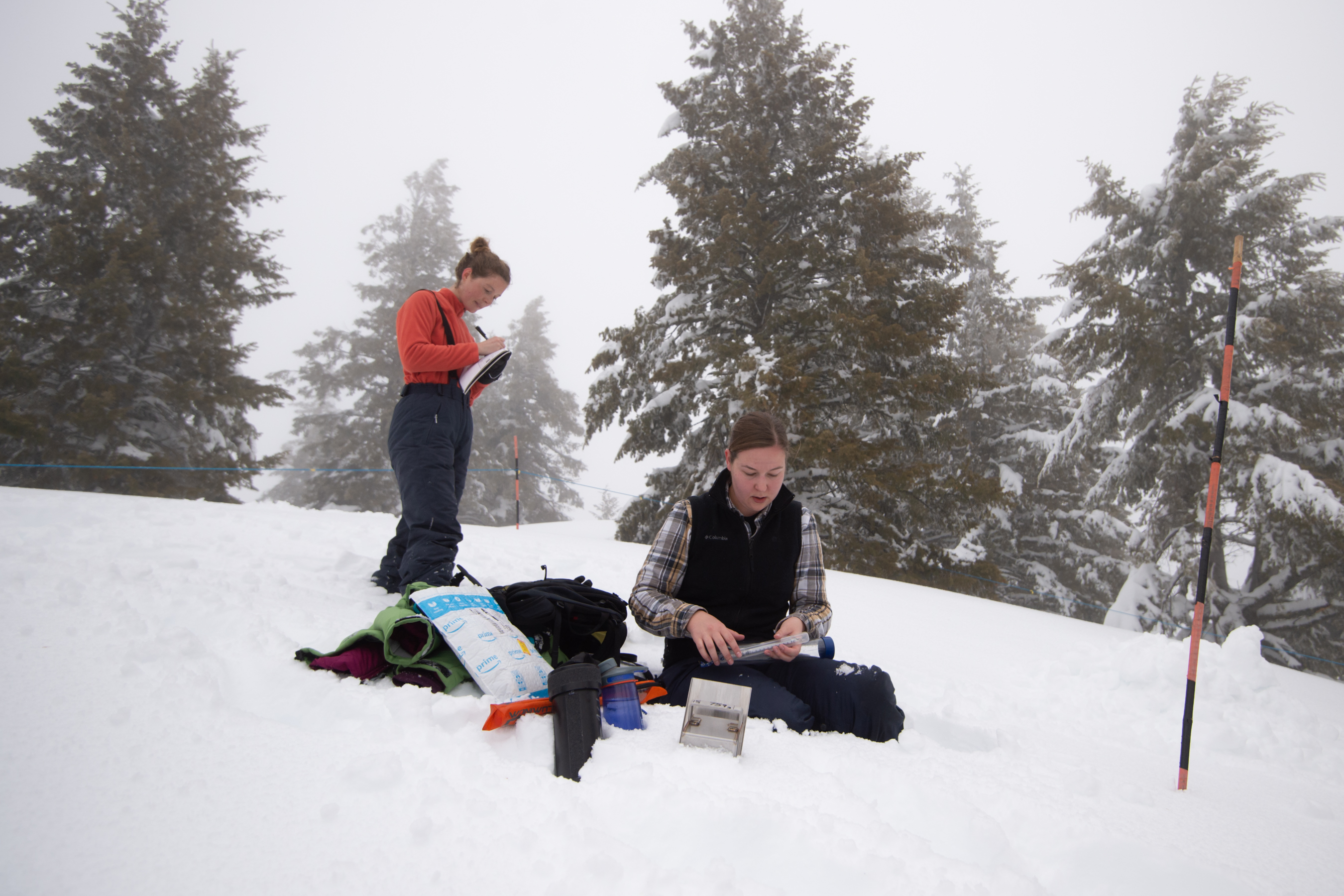 Two student conduct research on snowy mountain