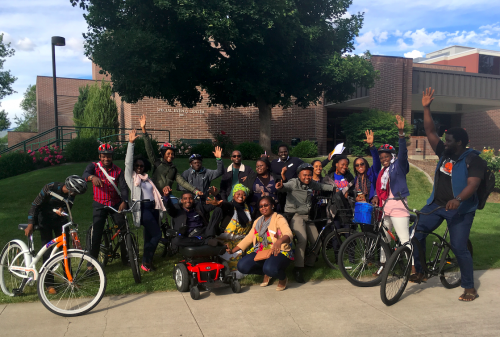 A cohort of African fellows pose on the Boise State campus.