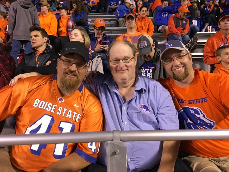 Brent with wife and friends at a Boise State football game