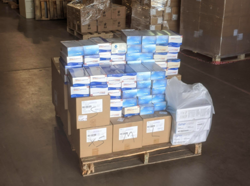 Boxes on a pallet in a warehouse