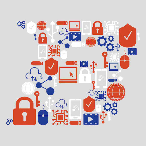 Boise State B made up of a variety of cybersecurity and technology related icons