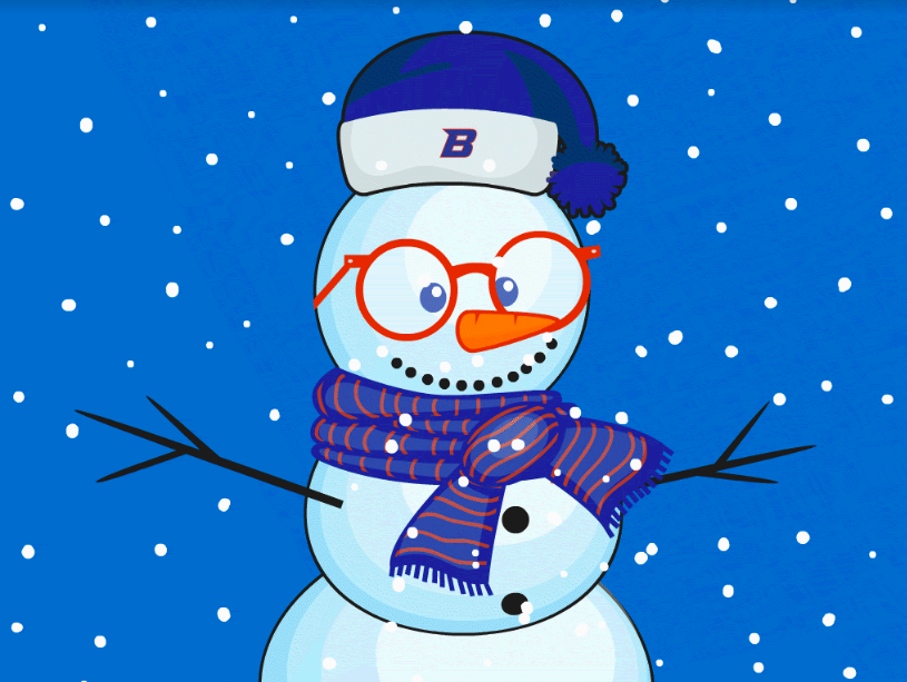 Cartoon snowman wearing a Bronco hat