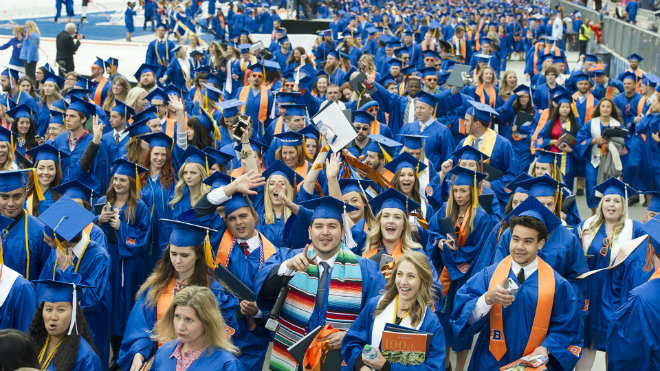 Boise State students leaving commencement ceremony