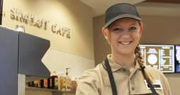 image of COBE Boise State student working at Simplot Cafe
