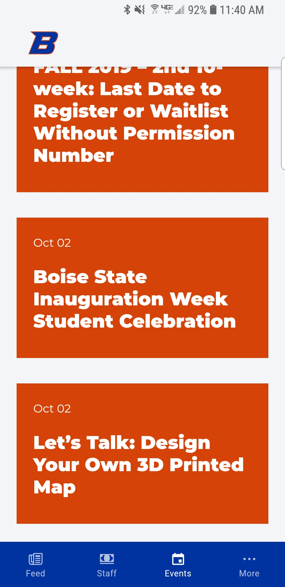Screenshot of Boise State app event feed