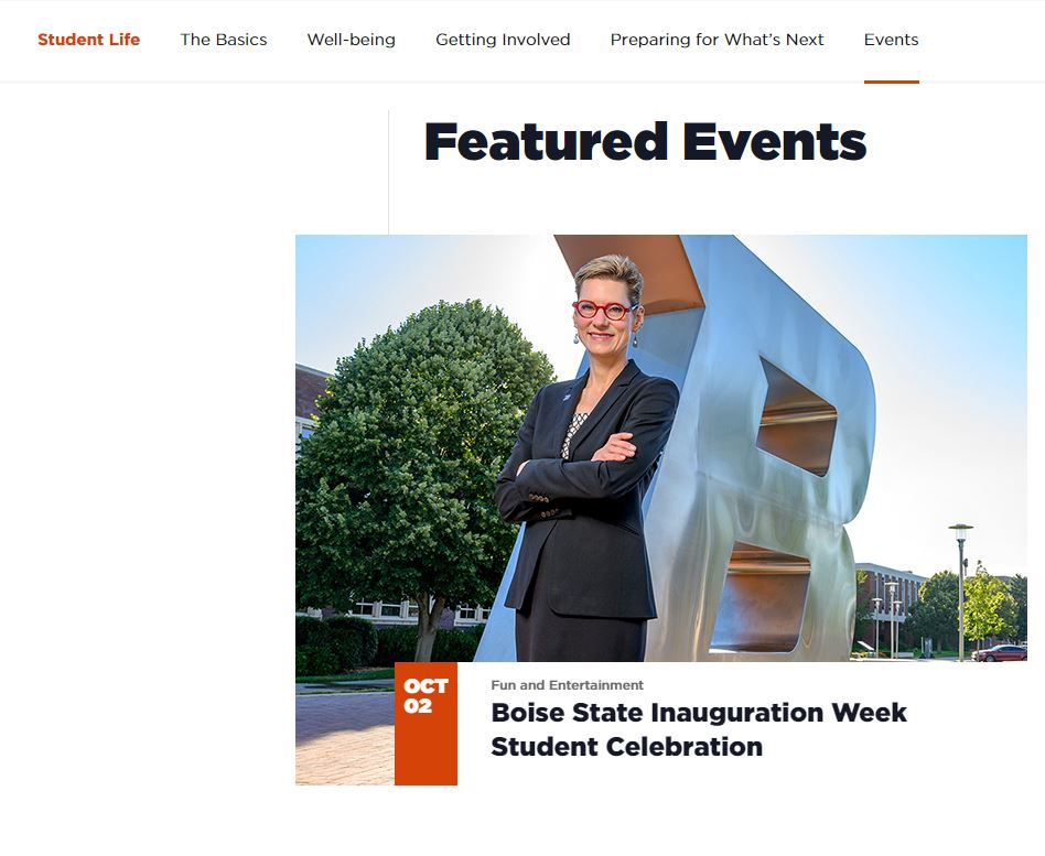 Screenshot of Student Life event feed
