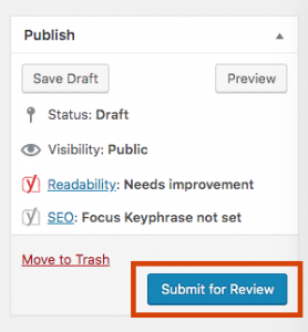 submit for review in WordPress