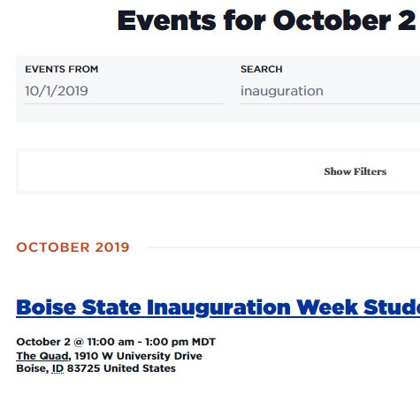 Boise State Events screenshot of event