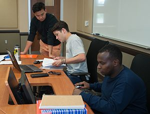 students studying in the tutoring lab