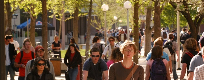 Busy campus scene; student resources help you get through campus life