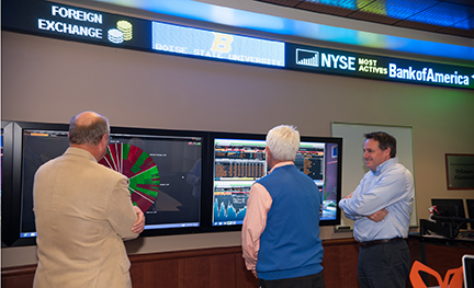 stock ticker in the Dykman Trading Room