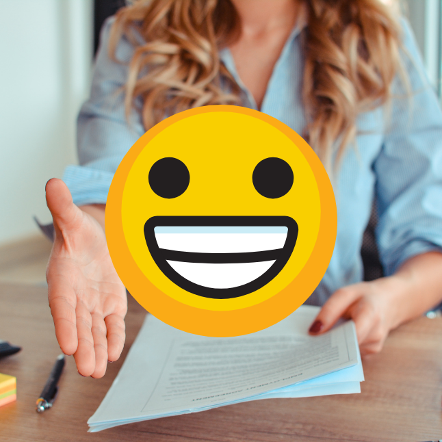Smiling emoji and woman offering a handshake