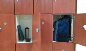 two opened lockers with books and back