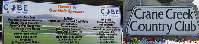sponsor sign at Crane Creek Country Club
