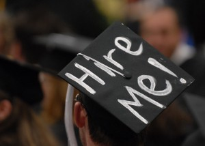 "Graduation cap with ""hire me"" written on top"