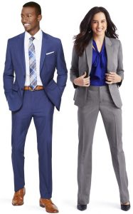 Two models dressed in professional suits