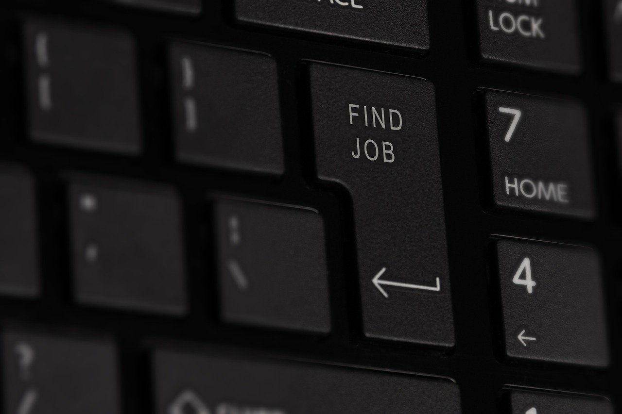 "picture of keyboard with ""find job"" key"