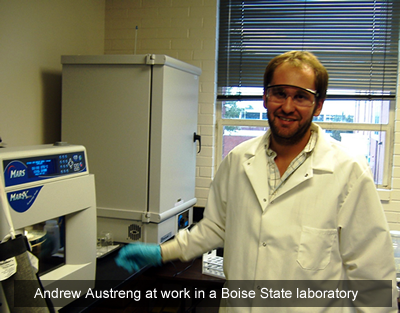 Andrew Austreng at work in a Boise State lab