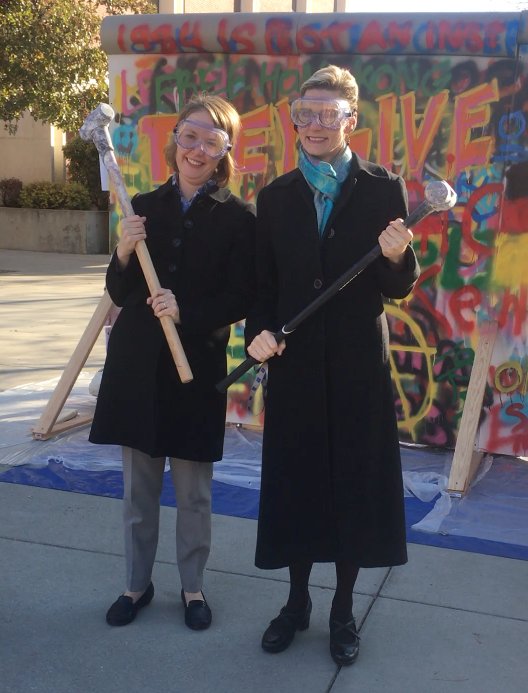 Dean Durham and Pres Tromp at Berlin Wall on Quad. 2019-11-08