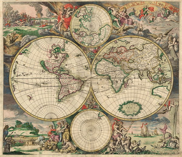 world map with decoration