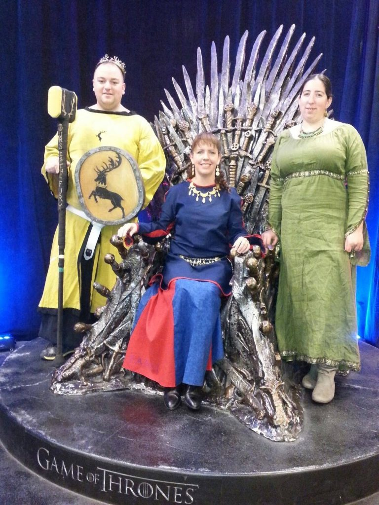 Lisa McClain on the Iron Throne from the tv show Game of Thrones