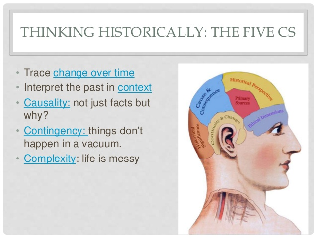 THINKING HISTORICALLY: THE FIVE C'S: Trace change over time; Interpret the past in context; Causality: not just facts but why?; Complexity: life is messy