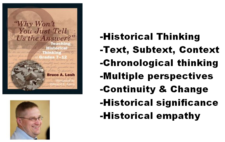 historical thinking; text, subtext, context; chonological thinking; multiple perspectives; continuity and change; historical significance; historical empathy