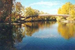 Friendship Bridge and the Boise River surrounded by Autumn leaves