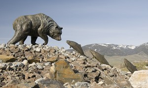 Bear and fish statue