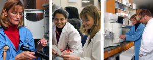 Collage of three phots of Dr. Oxford teaching in her lab